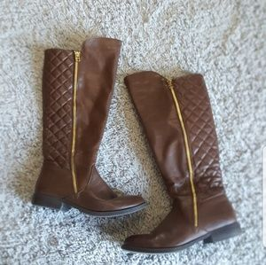 Mossimo Brown Riding Boots w/Gold Zipper